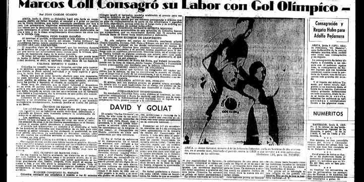 El lunes 4 de junio, Marcos Coll fue ídolo gracias a su gol olímpico y Colombia logró su consagración mundial.