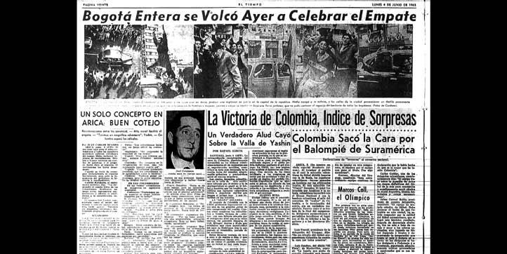 La hazaña del seleccionado colombiano contra la unión soviética, produjo una explosión de júbilo en la capital de la República.