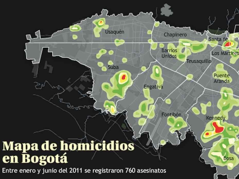 Mapa de homicidios en Bogotá