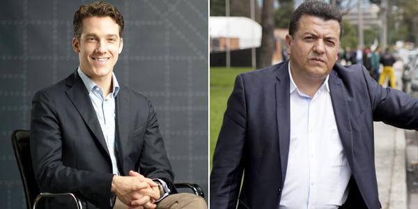 Michael Shoemaker (izq.), gerente de Uber; y Hugo Ospina, líder de la asociación de taxistas.
