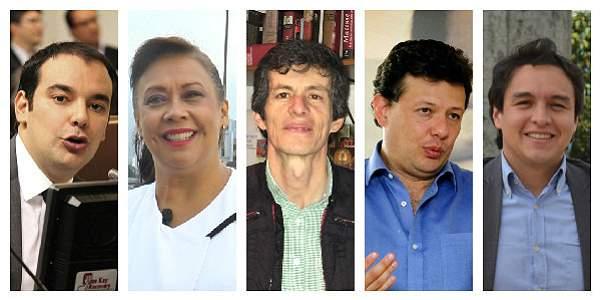 De izquierda a derecha: Horacio José Serpa, Gloria Stella Díaz, Juan Carlos Flórez, Holman Morris y Germán García.