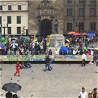 Disturbios en la Plaza de Bolívar de Bogotá