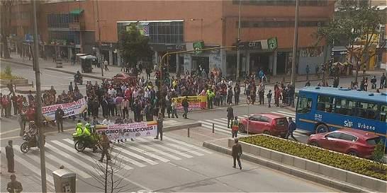 Protestas afectaron movilidad en el centro de Bogotá