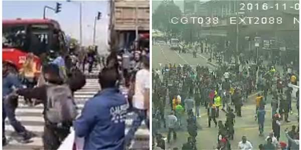 En disturbios termina protesta de comerciantes contra traslado de habitantes de calle