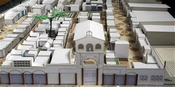 Esta es la maqueta que diseñaron los estudiantes del Sena, se ve como quedaría el parque cementerio Parroquial de Bosa en el 2020.