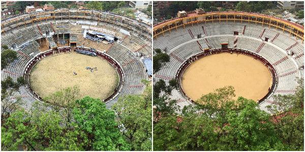 A la izquierda, el aspecto de la Santamaría en abril del 2015. A la derecha, así luce la plaza de toros tras el reforzamiento.
