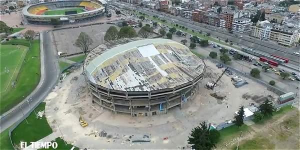 Así se ve desde el aire la obra del Coliseo El Campín