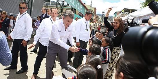 El Presidente Santos llega a Toca en  donde hará anuncios