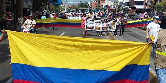 Marchas de comerciantes, sindicalistas y mujeres con PIP en Cali