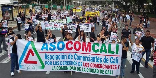 Comerciantes del centro de Cali marchan por