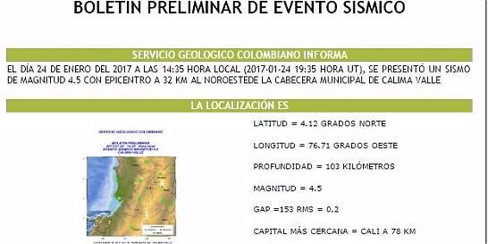 Sismo de 4.5 grados se sintió en el Valle del Cauca