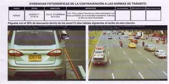 Polémica por fotomulta a carro que estaba en una grúa en Cali