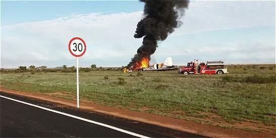 Avión se prendió en llamas tras aterrizar de emergencia en el Llano