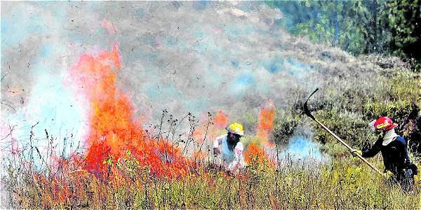 El incendio comenzó en el costado norte del cerro Quitasol. Foto: Jaiver Nieto