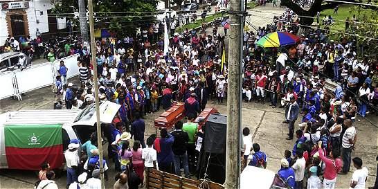 Marcha por los dos indígenas asesinados en el Cauca