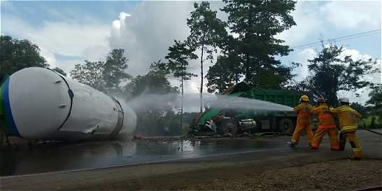 Cerrada la vía Bucaramanga - Barrancabermeja por aparatoso accidente