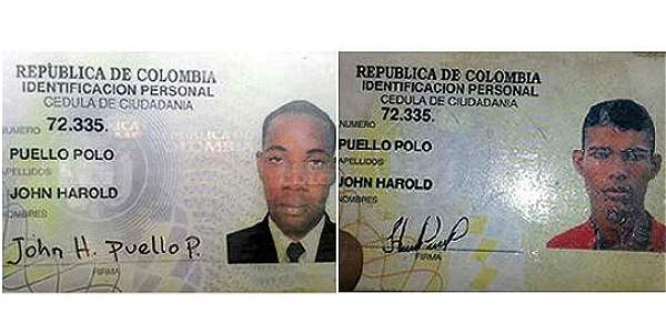 El policía John Harold Puello encontró su propia cédula en una requisa en una carretera del Atlántico.
