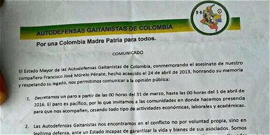 Investigan aparición de panfletos de supuesta Bacrim en Bucaramanga