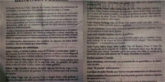 Denuncian amenazas de las Farc en dos corregimientos de La Guajira