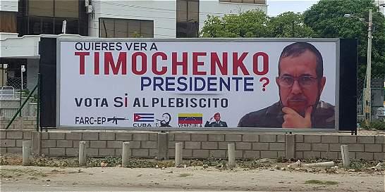 Desmontan polémica valla con imagen de Timochenko en Santa Marta