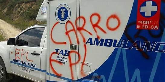 Retiran ambulancia atravesada por el Epl en vía de Norte de Santander