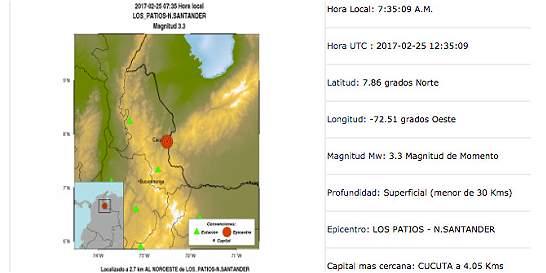Temblor en Norte de Santander no dejó daños ni víctimas