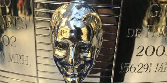 Rostro de Juan Pablo Montoya, ahora en el trofeo Borg Warner