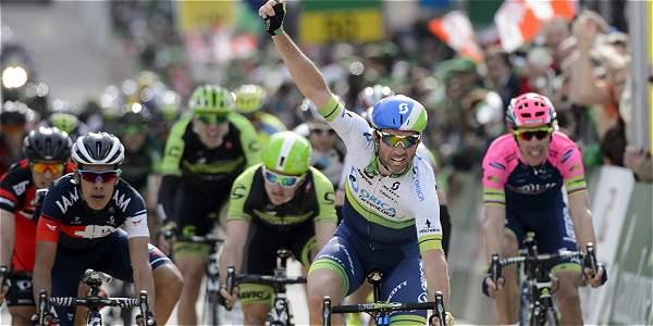Llegada de la segunda etapa del Tour de Romandía.