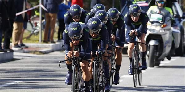 El equipo Moivistar, con Nairo Quintana como líder, efectuó un buen inicio en la Tirreno Adriático, tras cumplirse la contarreloj por equipos.