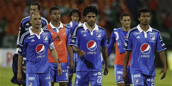 Jugadores de Millonarios tras la goleada 5-0 frente a Nacional.