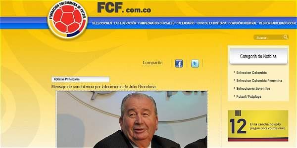 Colfútbol envió condolencias por el fallecimiento de Julio Grondona