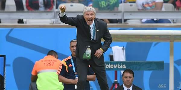 Pékerman, durante el partido de Colombia contra Grecia.