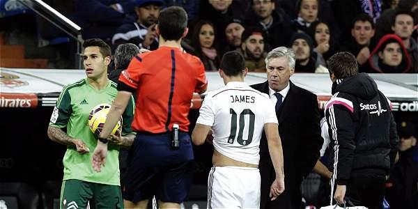Momento en el que James abandonó el partido contra Celta.