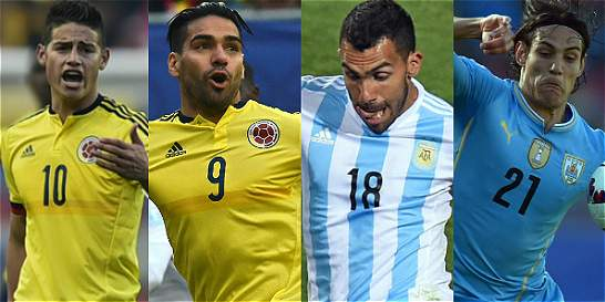 James, Falcao, Tévez y Cavani, por la revancha en la Copa América