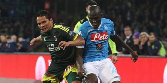 Bacca jugó 72 minutos en empate 1-1 del Milán contra el Nápoles