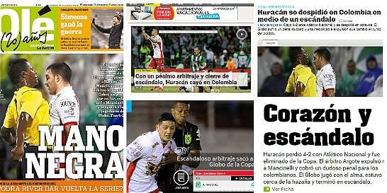 La prensa de Argentina protestó trabajo arbitral en juego de Huracán