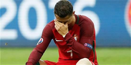 Cristiano Ronaldo salió lesionado en la final de la Eurocopa