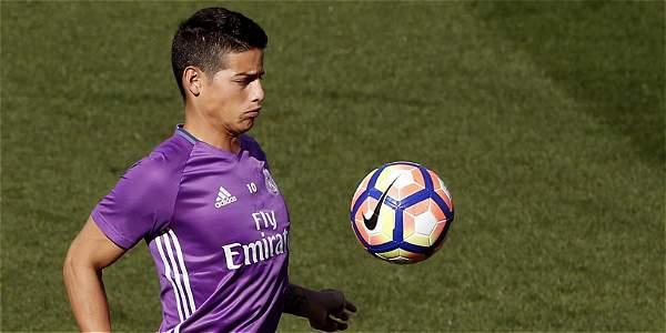 Gol de James Rodríguez en el entrenamiento del Real Madrid