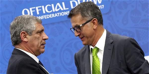 Fernando Santos (Dt. de Portugal) y Juan Carlos Osorio (Dt. de México).