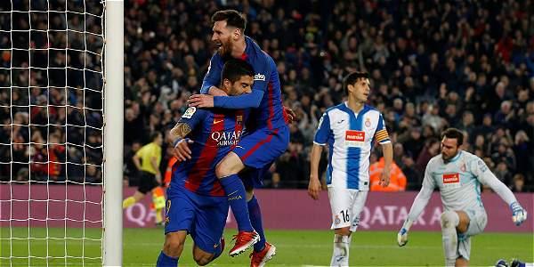 Lionel Messi y Luis Suárez, delanteros del Barcelona.