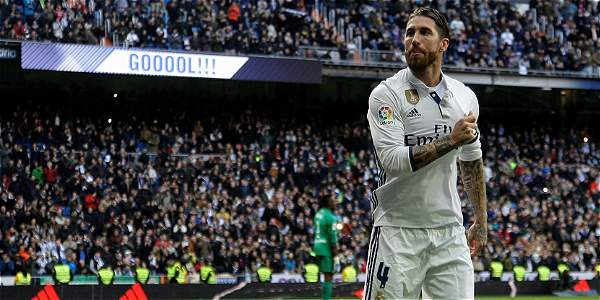 Sergio Ramos anotó golazo de cabeza al Málaga — Real Madrid