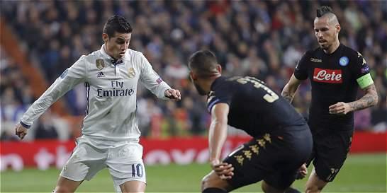 Real Madrid, con James 75 minutos, venció 3-1 a Nápoles