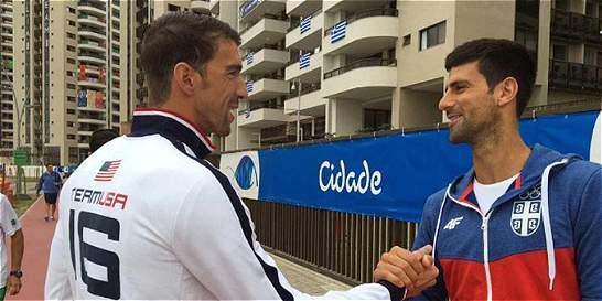 Phelps y Djokovic, un encuentro de estrellas en la Villa Olímpica