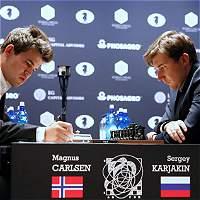 Nuevas tablas en la séptima partida, Carlsen y Karjakin, empatados