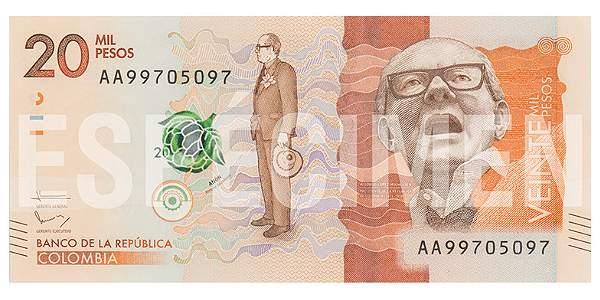 Nuevo billete de 20.000 pesos.