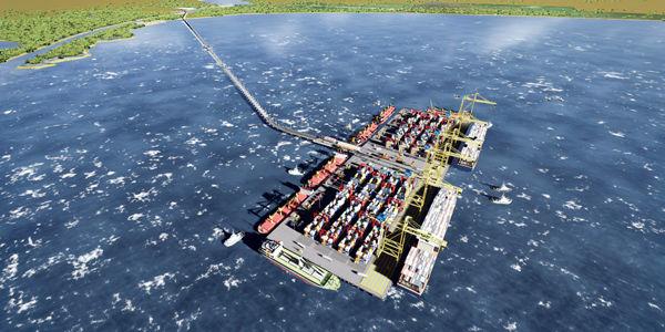 Este es el rénder de Puerto Antioquia, que tendrá un viaducto de 4,2 km que conectará el muelle en el mar con el puerto en tierra.