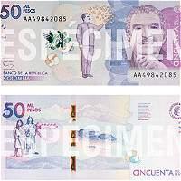 Este viernes empieza a circular el nuevo billete de 50.000 pesos