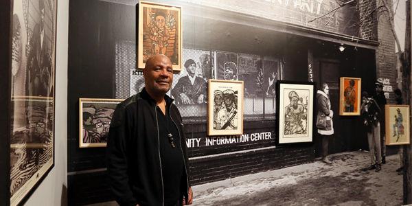 Se presentan obras de Emory Douglas y fotos de Stephen Shames, muestras de la lucha política y social por la igualdad.