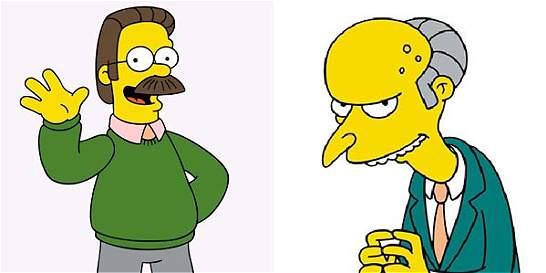 'Despiden' a Ned Flanders y el Señor Burns de Los Simpson
