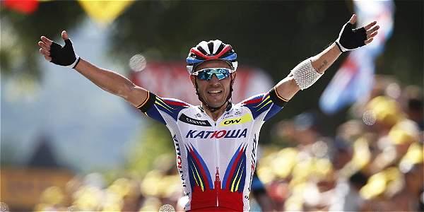 Joaquim Rodríguez celebra su victoria en la tercera etapa del Tour de Francia.